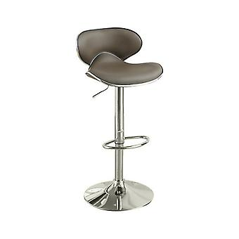 Bar stool with gas lift espresso brown and silver set of 2