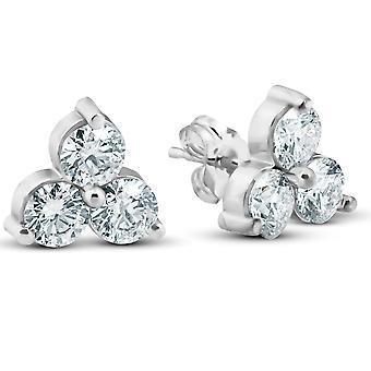 1 CT 3 stenen diamanten oorbellen 14K wit of geel goud
