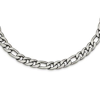 Stainless Steel Satin Figaro Chain Necklace - 18 Inch
