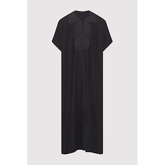 Gandoura idriss men's embroidered short sleeve full-length robe thobe in black