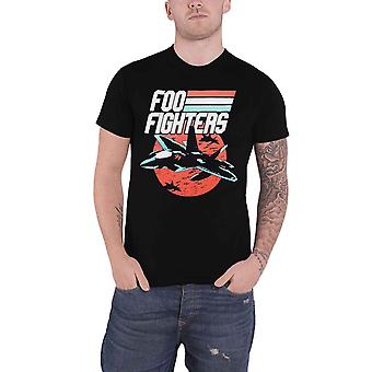 Foo Fighters T Shirt Fighter Jets Band Logo Stripes new Official Mens Black