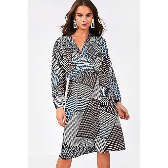iClothing Oscar Long Sleeve Wrap Front Dress -16
