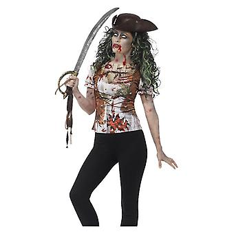 Donne zombie pirata wench T-shirt con sublimazione stampa Halloween Fancy Dress