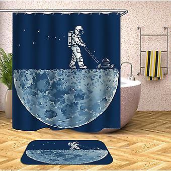 An Astronaut Mows The Moon Shower Curtain
