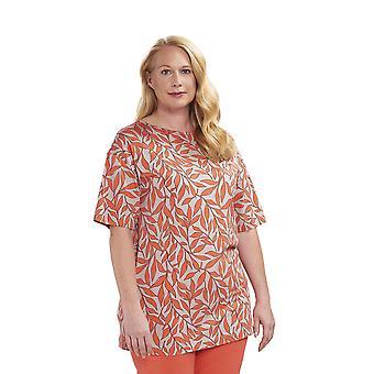 Rösch 1194645-16515 Women's Curve Soft Grapefruit Leaves Orange Floral Pyjama Top