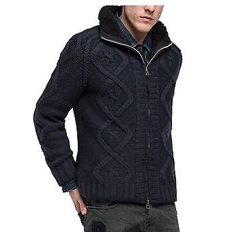 Replay Jeans Chunky Knit Fleece Lining Zip Cardigan Jacket Navy