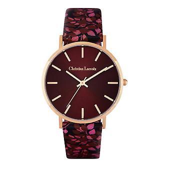 Christian Lacroix CLFS1807 Watch-Print e punainen nahka ranne koru