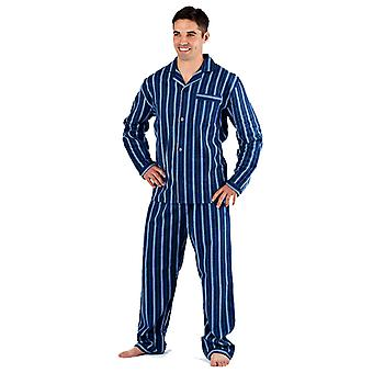 Harvey James mens 100% katoen Flanel gestreepte pyjama 9766