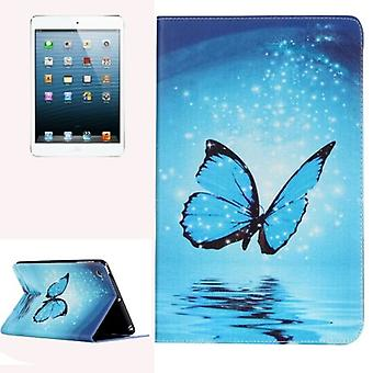 iPad mini 1,2,3 tapauksessa, tyylikäs perhonen kestävä suojaava nahkakansi, sininen