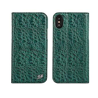 Pour iPhone XS,X Wallet Case,Fierre Shann Crocodile Genuine Leather Cover,Green