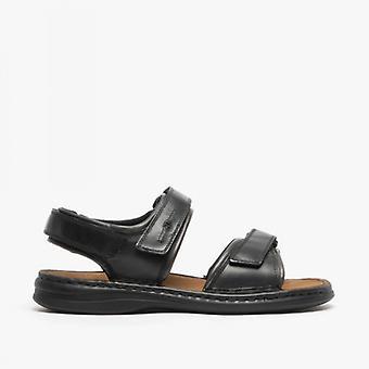 Josef Seibel Rafe Mens Leather Touch Fasten Sandals Zwart