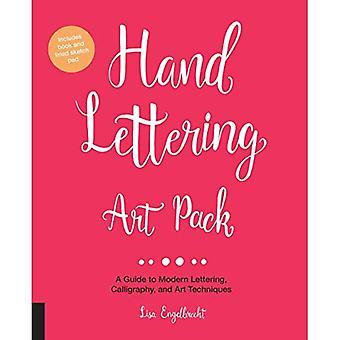 Hand bokstäver konst Pack: En Guide till moderna bokstäver, kalligrafi, och konst tekniker-inkluderar bok och fodrad skissblock