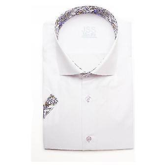 JSS Plain White Slim Fit korte mouw shirt met Lilac Paisley Trim