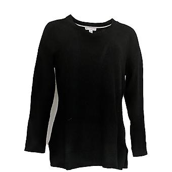 Isaac Mizrahi Live! Women's Sweater Cashmere V-Neck Tunic Black A307915