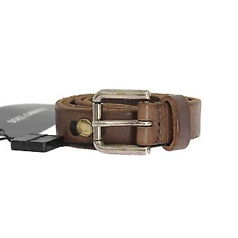 Dolce & Gabbana Brown Leather Silver Buckle Studded Belt