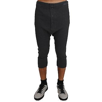 Dolce & Gabbana Gray Cotton Stretch Bermuda Thermal Bottoms
