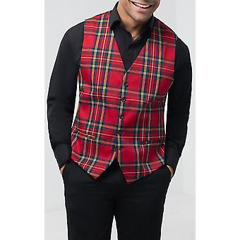 Dobell mens rode tartan gilet slim fit