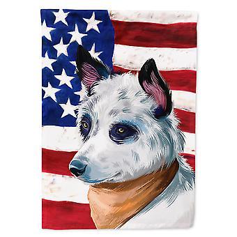Blue Heeler Dog American Flag Flag Canvas House Size