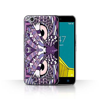 STUFF4 Case/Cover pour Vodafone Smart Ultra 6/Owl-Purple/Aztec Animal Design