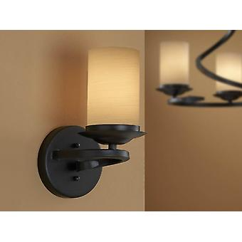 Schuller Crisol - Wall lamp of 1 light made of forged iron, oxide black finish. Decorated opal glass shade in cream-colored tonalities. - 615926