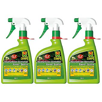Glest: 3 x COMPO Lawn Weed Killer Banvel® Quattro AF, 1000 ml