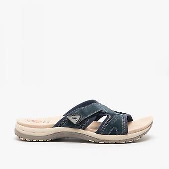 Earth Spirit Wickford Ladies Suede Mule Sandals Navy Blue