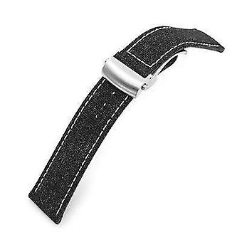 Strapcode fabric watch strap 20mm or 22mm black canvas watch band brushed roller deployant buckle, beige stitching