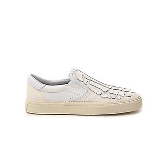 Amiri Y0g23419cyivorywhite Women's Beige Velvet Slip On Sneakers