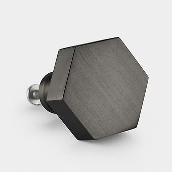 Brass Door Knob - Gunmetal Grey - Hexagon