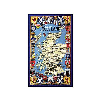 Stow Green Map & Arms Of Scotland Tea Towel