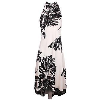 Michaela Louisa Cream & Black Sleeveless Floral Fishtail Dress With Chiffon Sash