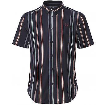 Fred Perry camisa de rayas de manga corta M8563 608