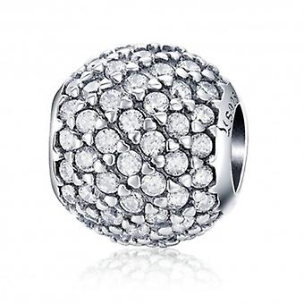 Sterling Silver Charm Crystal Round - 5674