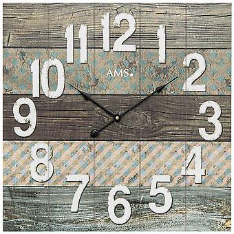AMS 9570 Wall clock Quartz analog wood square square