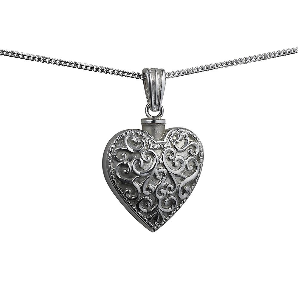 Silver 25x22mm handmade Embossed Heart shaped Memorial Locket with a curb Chain 20 inches