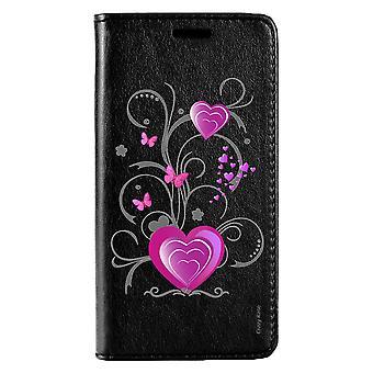 Fall für Huawei P10 schwarzes Muster Herz und Schmetterling