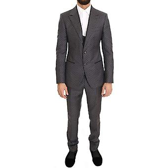 Dolce & Gabbana Gray Polka Dotted Slim Fit 3 Piece Suit -- KOS1306800