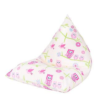 Ready Steady Bed Kids Children Pyramid Shaped Bean Bag | Comfy Toddler Furniture | Soft Child Safe Lounger Seat Playroom (Owls)
