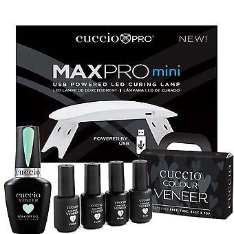 Cuccio Colour Veneer Professional - Kit di CuraTura Polacca Rainbow Sorbet Gel - Sorbetto alla menta 13ml, Lampada di cura USB & Mini- Set 6