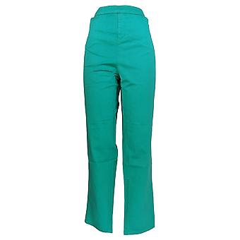 Liz Claiborne New York Women's Plus Pants Slim Leg Twill Green A235266