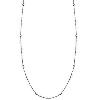 18 k Weißgold 1,3 mm Diamanten Station Hummer Kralle Verschluss Halskette .16 Dwt Schmuck Geschenke für Frauen - Länge: 16 bis 24