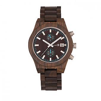 Earth Wood Castillo Bracelet Watch w/Date - Dark Brown
