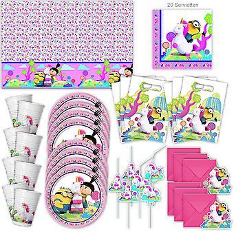 Fluffy Minions Party Set XL Procos 55-Piece pour 6 invités Minionparty Anniversaire Décoration Party Package