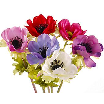 Bunch of 6 Artificial Anemone Flower Stems for Spring Crafts