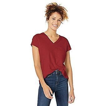 Merkki - Goodthreads Women's Vintage Cotton Pocket V-Neck T-paita, Syvänpunainen, X-Pieni