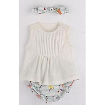 Mamino Baby Girl Leonor Printed Bloomer e bandana branca top 3 peças set