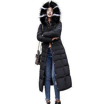 Womens Faux Fur Trim Hooded Padded Maxi Parka Winter Coat