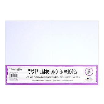 Cartes et cartes 5x7 pouces Dovecraft White 5x7 Inch; Enveloppes (50pcs) (DCBS199)