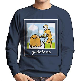 Gudetama Nisetama San Pushing Eggshell Vehicle Men's Sweatshirt