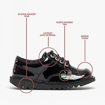 Kickers Kick Lo Kids Patente Zapatos de Cuero Negro